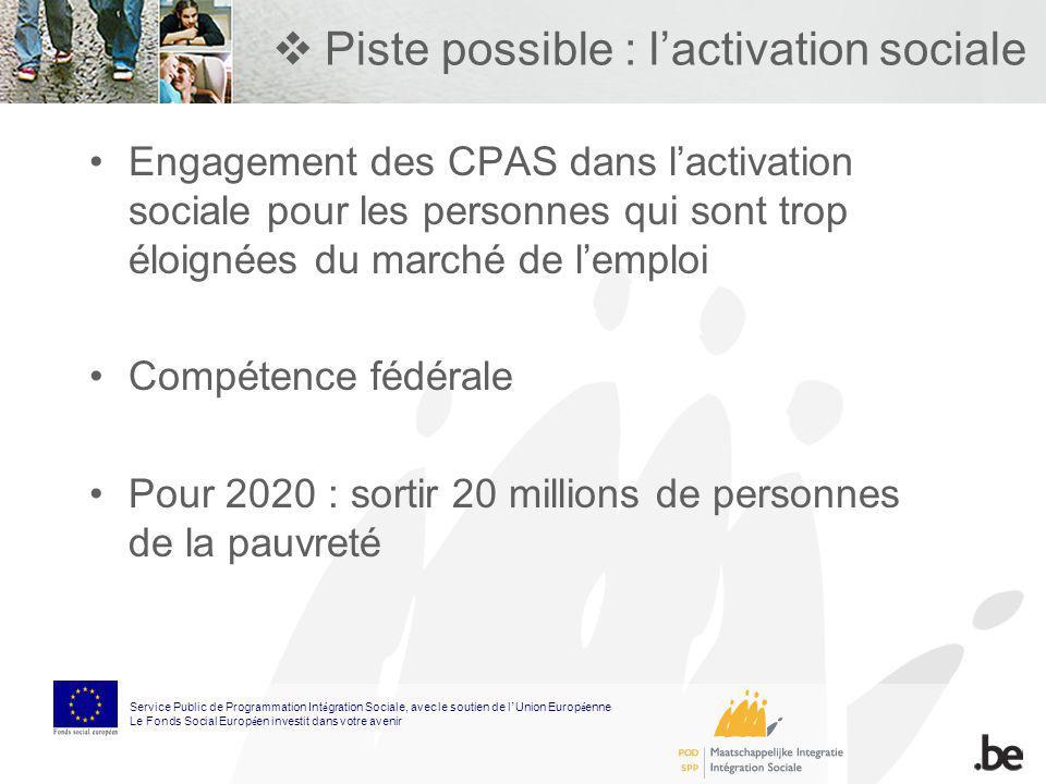 Piste possible : lactivation sociale Engagement des CPAS dans lactivation sociale pour les personnes qui sont trop éloignées du marché de lemploi Comp