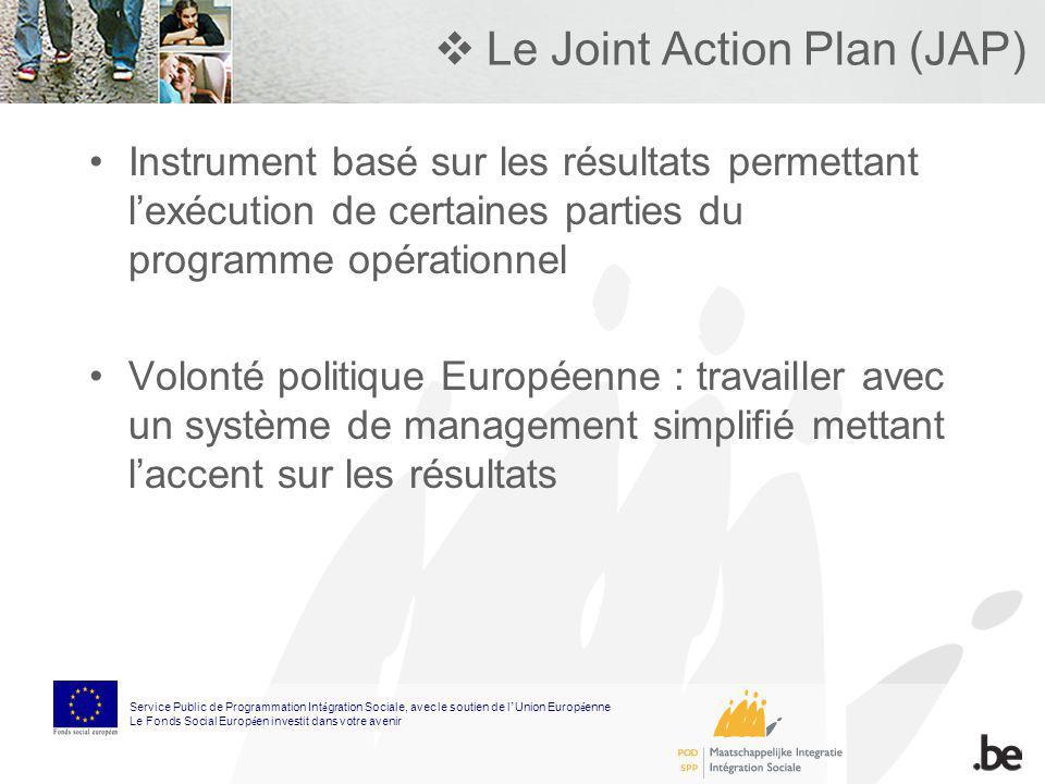 Le Joint Action Plan (JAP) Instrument basé sur les résultats permettant lexécution de certaines parties du programme opérationnel Volonté politique Eu