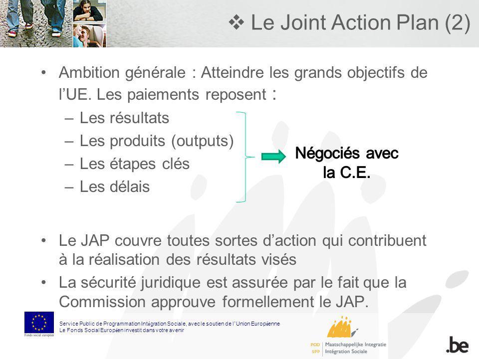 Le Joint Action Plan (2) Ambition générale : Atteindre les grands objectifs de lUE. Les paiements reposent : –Les résultats –Les produits (outputs) –L