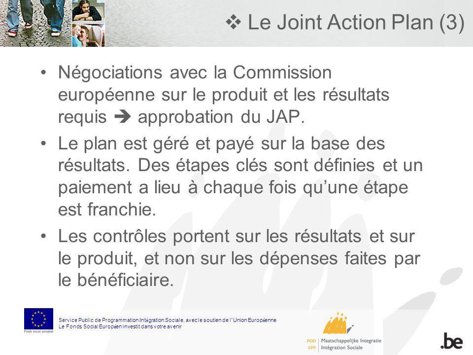 Le Joint Action Plan (3) Négociations avec la Commission européenne sur le produit et les résultats requis approbation du JAP. Le plan est géré et pay