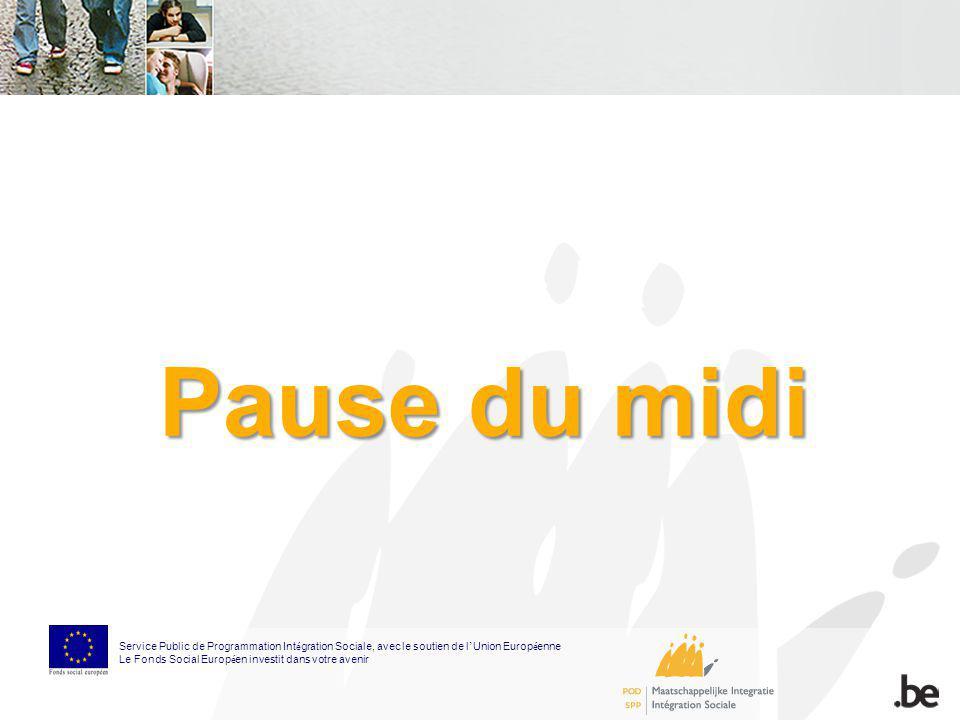 Pause du midi Service Public de Programmation Int é gration Sociale, avec le soutien de l Union Europ é enne Le Fonds Social Europ é en investit dans