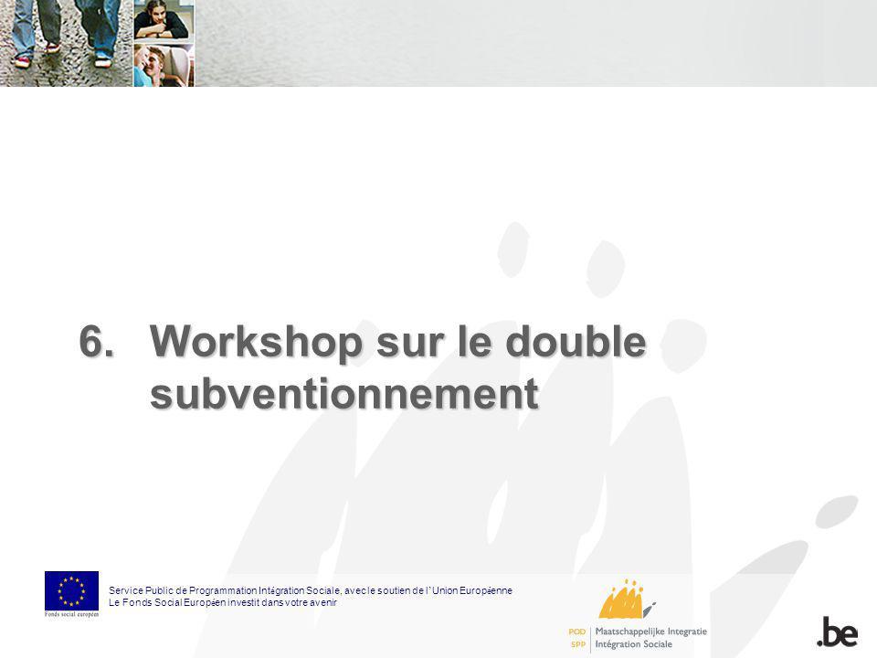6.Workshop sur le double subventionnement Service Public de Programmation Int é gration Sociale, avec le soutien de l Union Europ é enne Le Fonds Soci