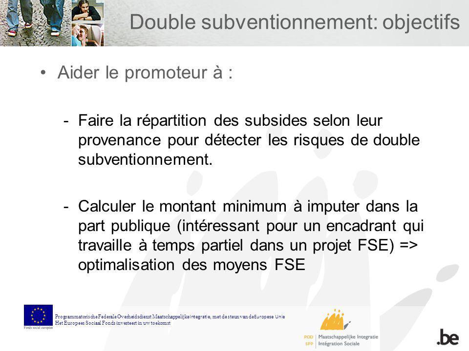Double subventionnement: objectifs Aider le promoteur à : -Faire la répartition des subsides selon leur provenance pour détecter les risques de double