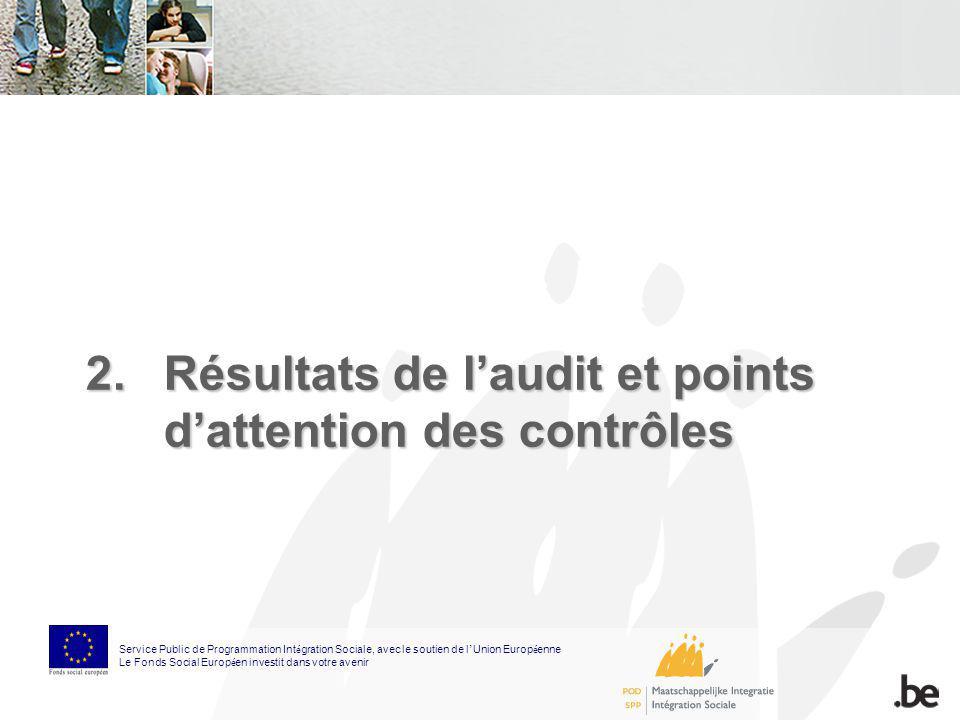 2.Résultats de laudit et points dattention des contrôles Service Public de Programmation Int é gration Sociale, avec le soutien de l Union Europ é enn