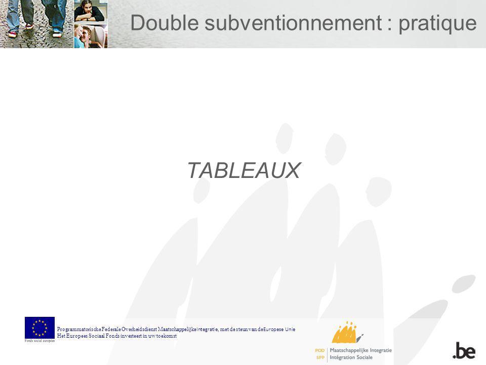 Double subventionnement : pratique TABLEAUX Programmatorische Federale Overheidsdienst Maatschappelijke Integratie, met de steun van de Europese Unie