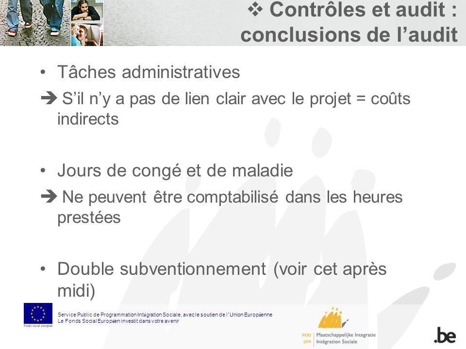 Contrôles et audit : conclusions de laudit Tâches administratives Sil ny a pas de lien clair avec le projet = coûts indirects Jours de congé et de mal