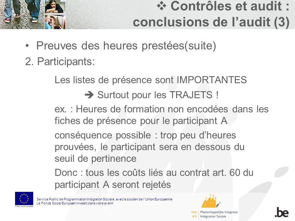 Contrôles et audit : conclusions de laudit (3) Preuves des heures prestées(suite) 2. Participants: Les listes de présence sont IMPORTANTES Surtout pou
