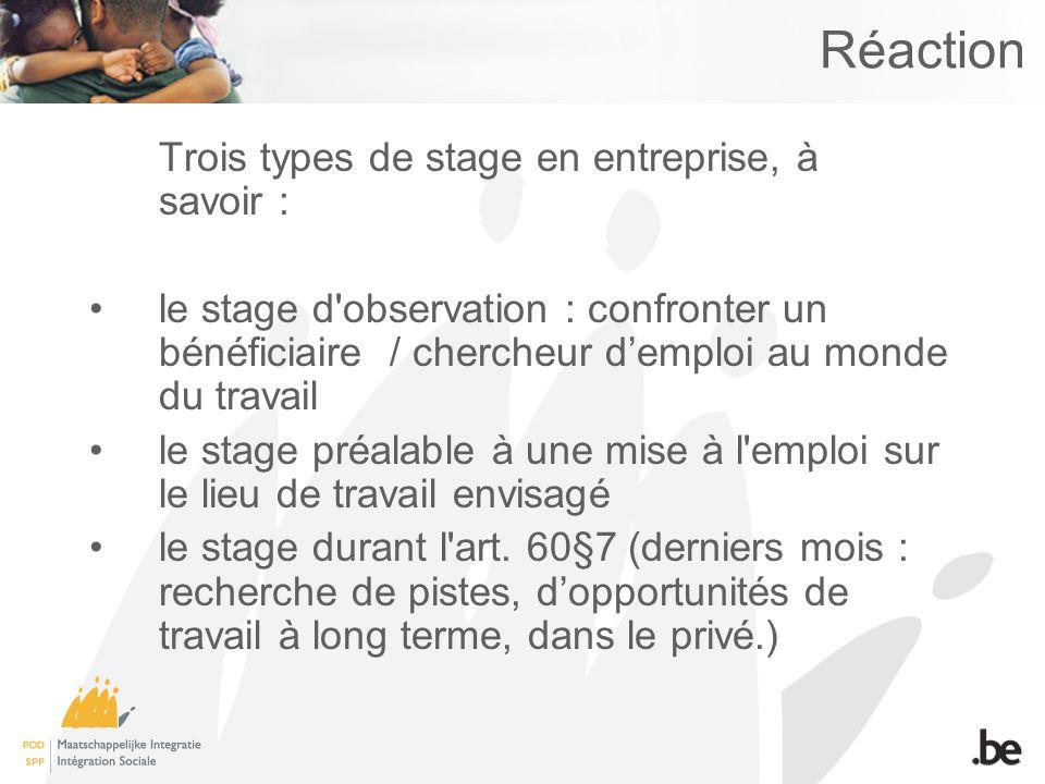 Réaction Trois types de stage en entreprise, à savoir : le stage d observation : confronter un bénéficiaire / chercheur demploi au monde du travail le stage préalable à une mise à l emploi sur le lieu de travail envisagé le stage durant l art.