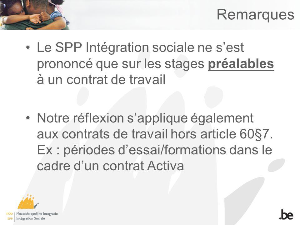 Remarques Le SPP Intégration sociale ne sest prononcé que sur les stages préalables à un contrat de travail Notre réflexion sapplique également aux contrats de travail hors article 60§7.
