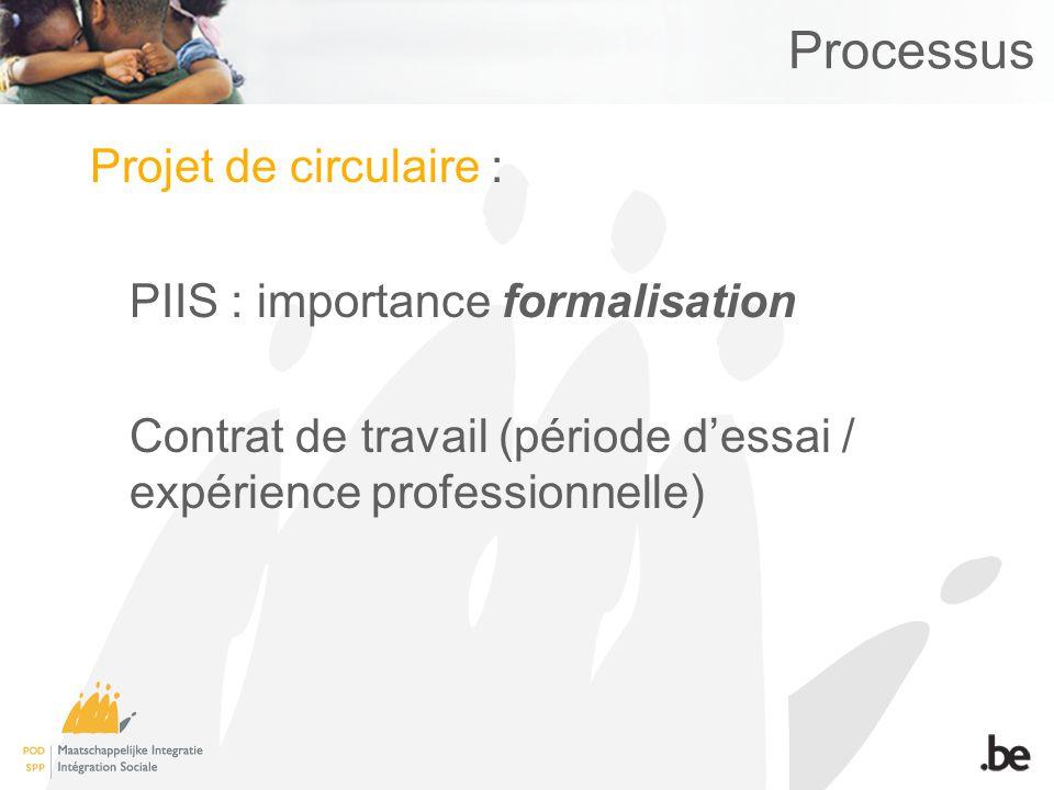 Processus Projet de circulaire : PIIS : importance formalisation Contrat de travail (période dessai / expérience professionnelle)