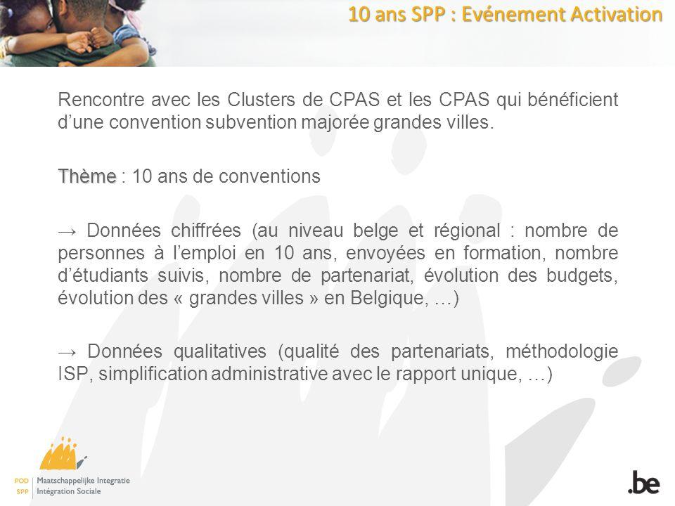 10 ans SPP : Evénement Activation Rencontre avec les Clusters de CPAS et les CPAS qui bénéficient dune convention subvention majorée grandes villes.