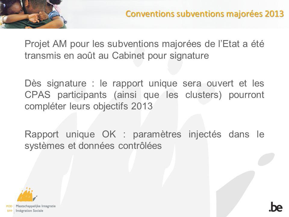 Conventions subventions majorées 2013 Projet AM pour les subventions majorées de lEtat a été transmis en août au Cabinet pour signature Dès signature : le rapport unique sera ouvert et les CPAS participants (ainsi que les clusters) pourront compléter leurs objectifs 2013 Rapport unique OK : paramètres injectés dans le systèmes et données contrôlées