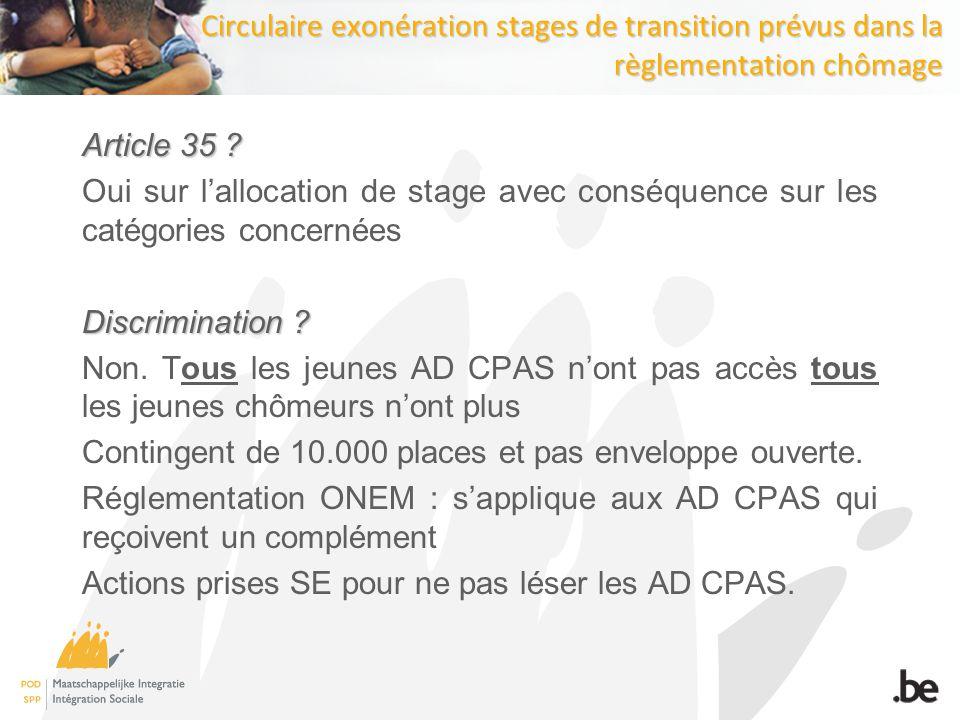 Circulaire exonération stages de transition prévus dans la règlementation chômage Article 35 .