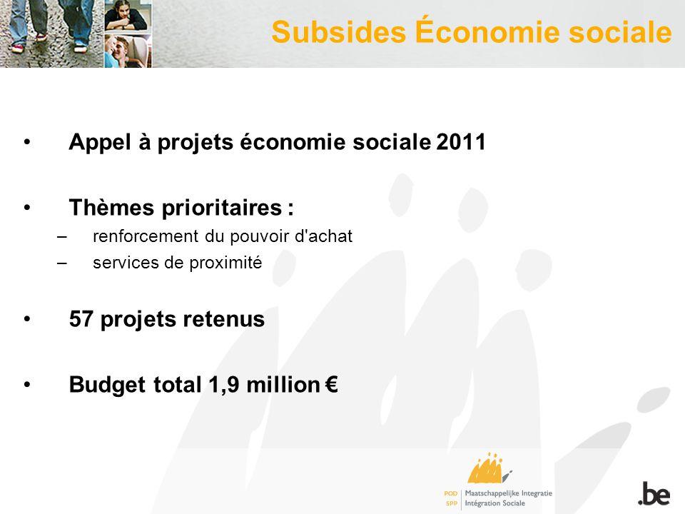 Subsides Économie sociale Appel à projets économie sociale 2011 Thèmes prioritaires : –renforcement du pouvoir d achat –services de proximité 57 projets retenus Budget total 1,9 million