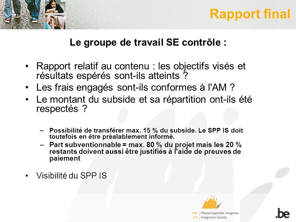 Rapport final Le groupe de travail SE contrôle : Rapport relatif au contenu : les objectifs visés et résultats espérés sont-ils atteints .