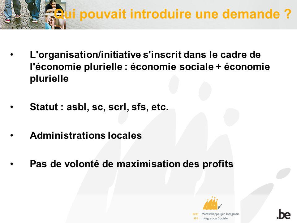 L organisation/initiative s inscrit dans le cadre de l économie plurielle : économie sociale + économie plurielle Statut : asbl, sc, scrl, sfs, etc.
