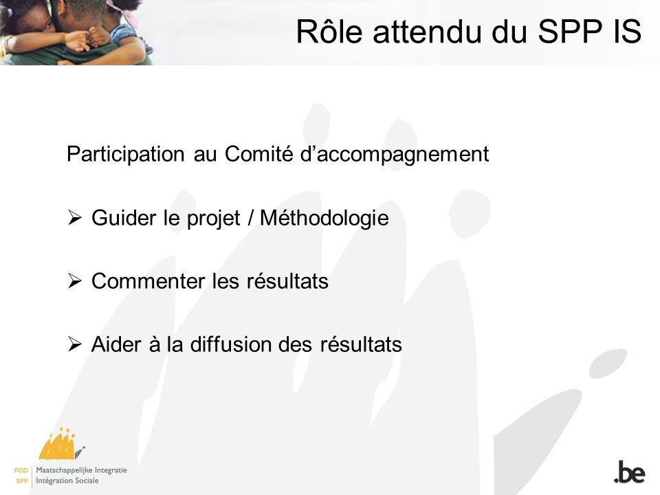 Rôle attendu du SPP IS Participation au Comité daccompagnement Guider le projet / Méthodologie Commenter les résultats Aider à la diffusion des résultats