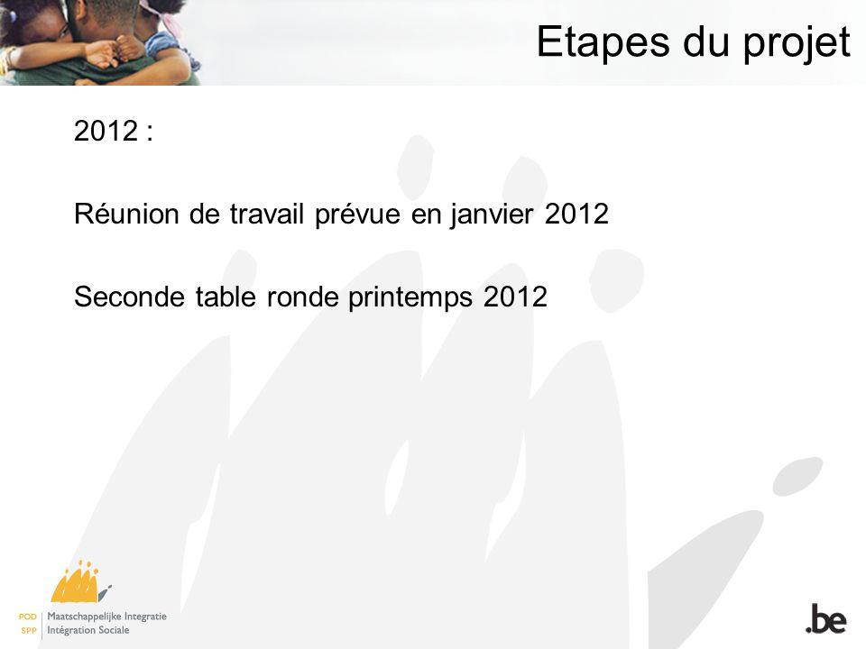 Etapes du projet 2012 : Réunion de travail prévue en janvier 2012 Seconde table ronde printemps 2012
