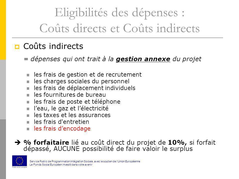 Eligibilités des dépenses : Coûts directs et Coûts indirects Coûts indirects = dépenses qui ont trait à la gestion annexe du projet les frais de gesti