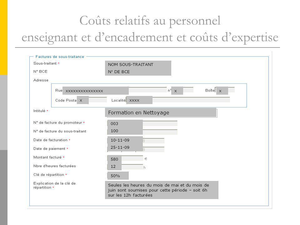 Coûts relatifs au personnel enseignant et dencadrement et coûts dexpertise NOM SOUS-TRAITANT N° DE BCE xxxxxxxxxxxxxxxxx xxxxx Formation en Nettoyage