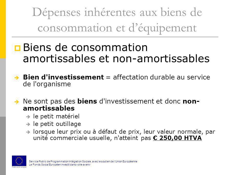 Dépenses inhérentes aux biens de consommation et déquipement Biens de consommation amortissables et non-amortissables Bien d'investissement = affectat