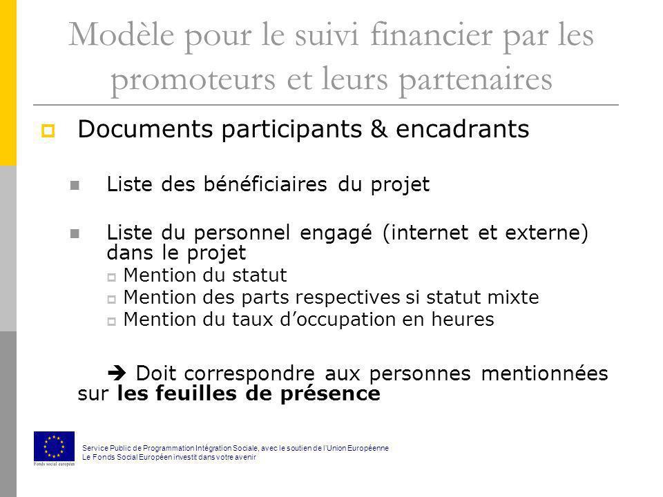 Modèle pour le suivi financier par les promoteurs et leurs partenaires Documents participants & encadrants Liste des bénéficiaires du projet Liste du
