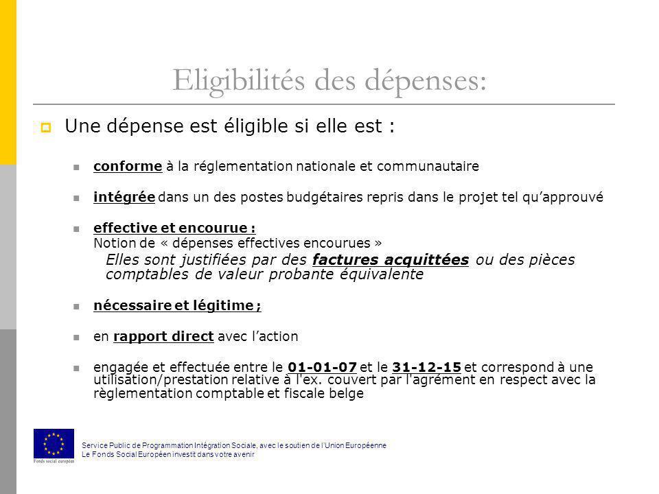Eligibilités des dépenses: Une dépense est éligible si elle est : conforme à la réglementation nationale et communautaire intégrée dans un des postes