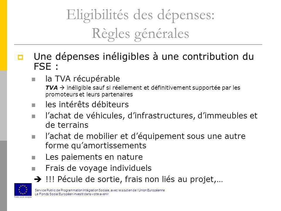 Eligibilités des dépenses: Règles générales Une dépenses inéligibles à une contribution du FSE : la TVA récupérable TVA inéligible sauf si réellement