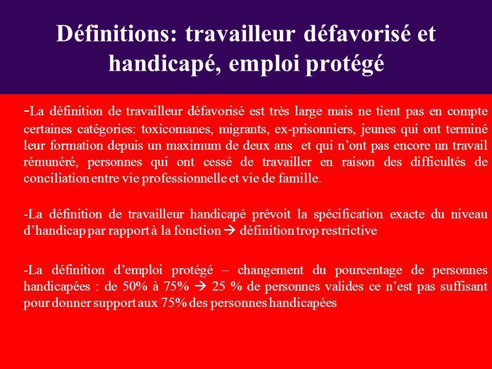 - La définition de travailleur défavorisé est très large mais ne tient pas en compte certaines catégories: toxicomanes, migrants, ex-prisonniers, jeun