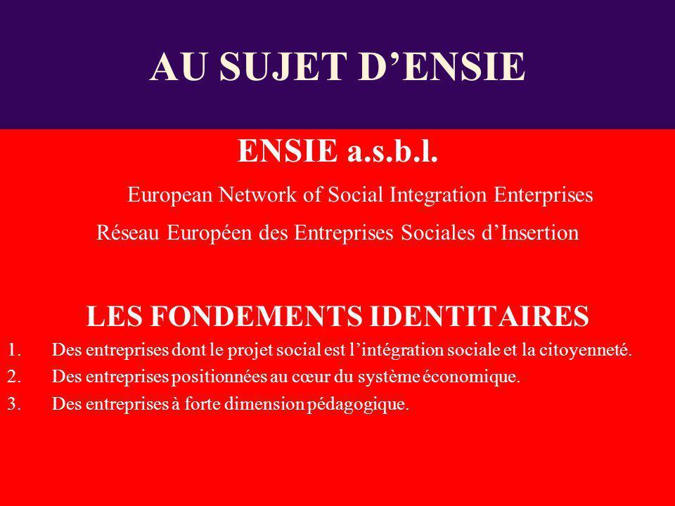 ENSIE a.s.b.l. European Network of Social Integration Enterprises Réseau Européen des Entreprises Sociales dInsertion LES FONDEMENTS IDENTITAIRES 1.De