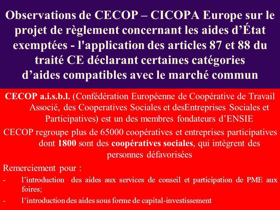 CECOP a.i.s.b.l. (Confédération Européenne de Coopérative de Travail Associé, des Cooperatives Sociales et desEntreprises Sociales et Participatives)