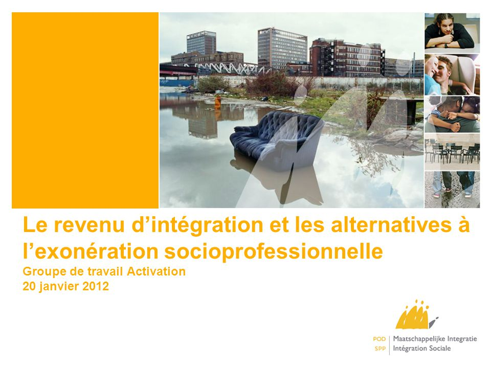 Le revenu dintégration et les alternatives à lexonération socioprofessionnelle Groupe de travail Activation 20 janvier 2012