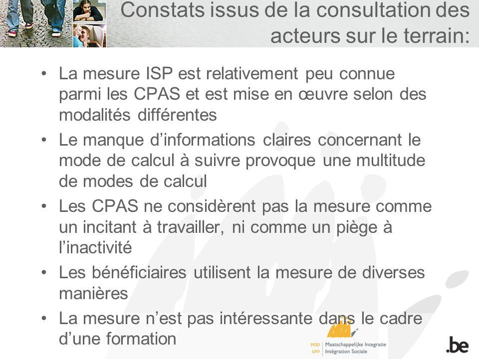 Constats issus de la consultation des acteurs sur le terrain: La mesure ISP est relativement peu connue parmi les CPAS et est mise en œuvre selon des