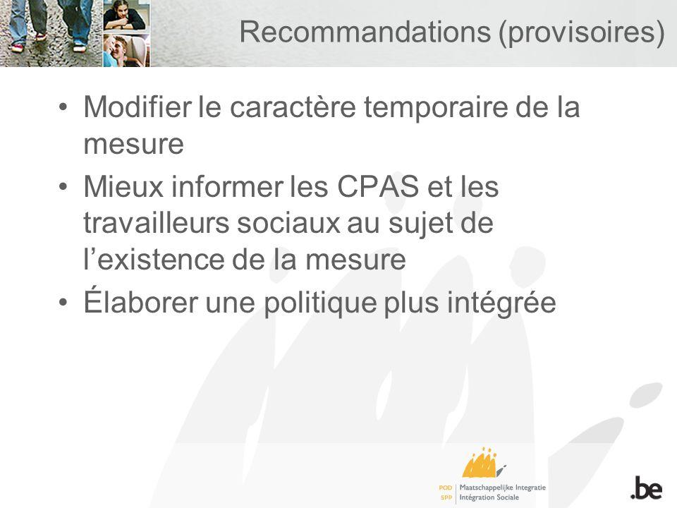 Recommandations (provisoires) Modifier le caractère temporaire de la mesure Mieux informer les CPAS et les travailleurs sociaux au sujet de lexistence