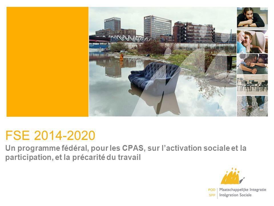 FSE 2014-2020 Un programme fédéral, pour les CPAS, sur lactivation sociale et la participation, et la précarité du travail