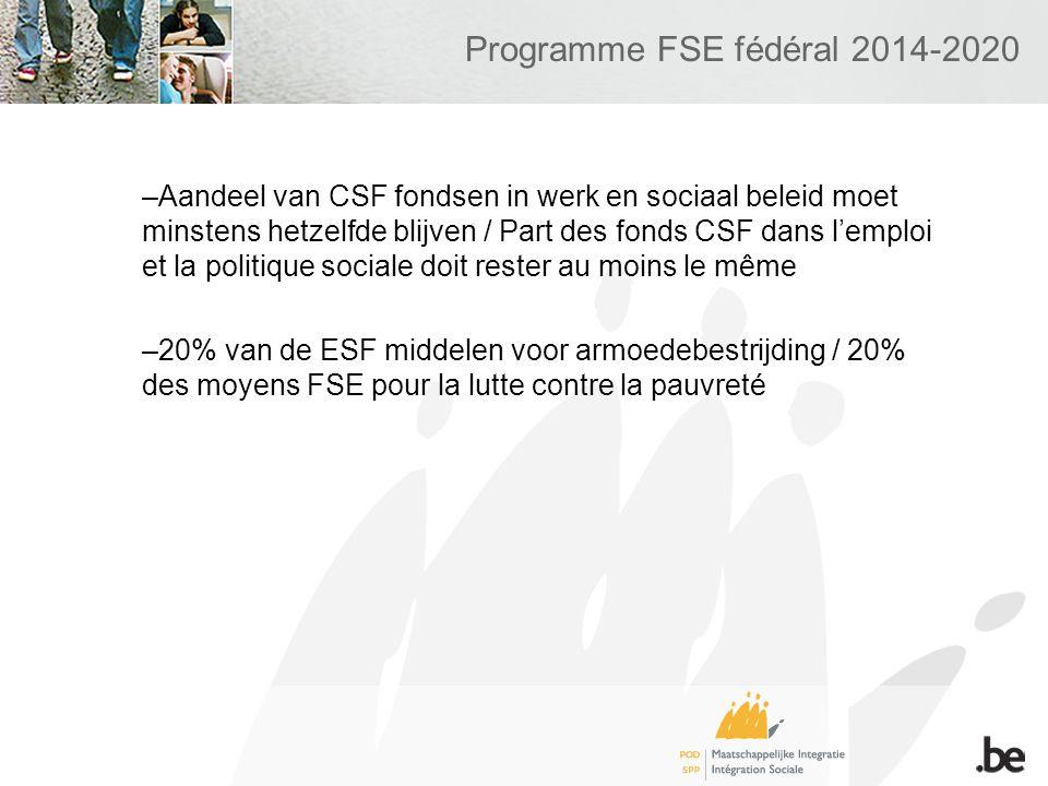 Programme FSE fédéral 2014-2020 –Aandeel van CSF fondsen in werk en sociaal beleid moet minstens hetzelfde blijven / Part des fonds CSF dans lemploi et la politique sociale doit rester au moins le même –20% van de ESF middelen voor armoedebestrijding / 20% des moyens FSE pour la lutte contre la pauvreté