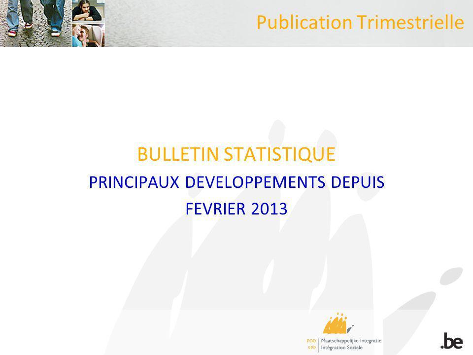 Publication Trimestrielle BULLETIN STATISTIQUE PRINCIPAUX DEVELOPPEMENTS DEPUIS FEVRIER 2013