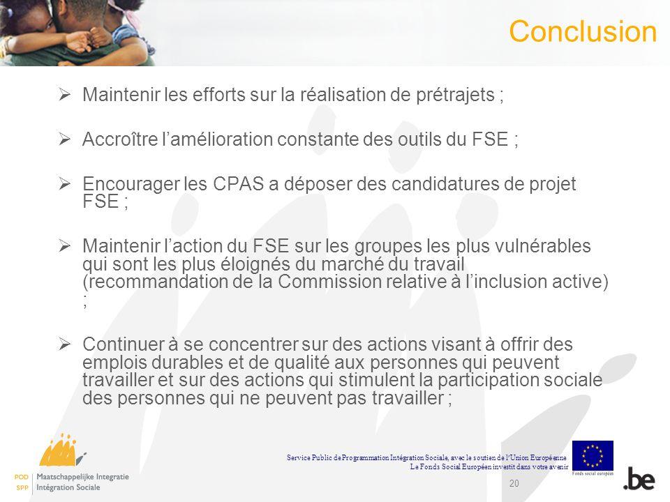 20 Conclusion Maintenir les efforts sur la réalisation de prétrajets ; Accroître lamélioration constante des outils du FSE ; Encourager les CPAS a dép