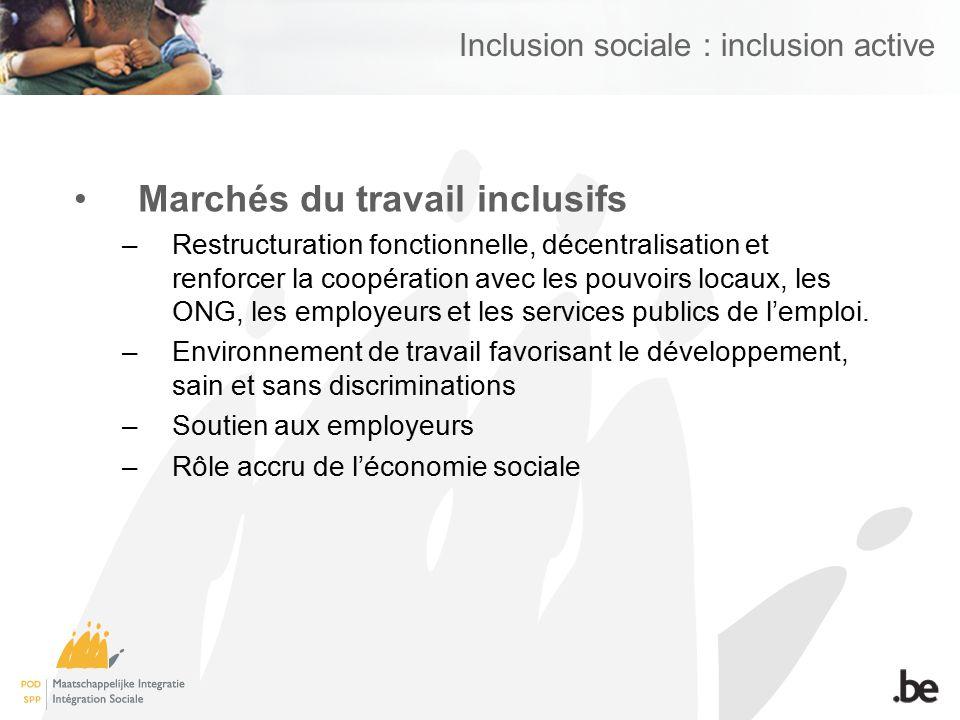 Inclusion sociale : inclusion active Marchés du travail inclusifs –Restructuration fonctionnelle, décentralisation et renforcer la coopération avec le