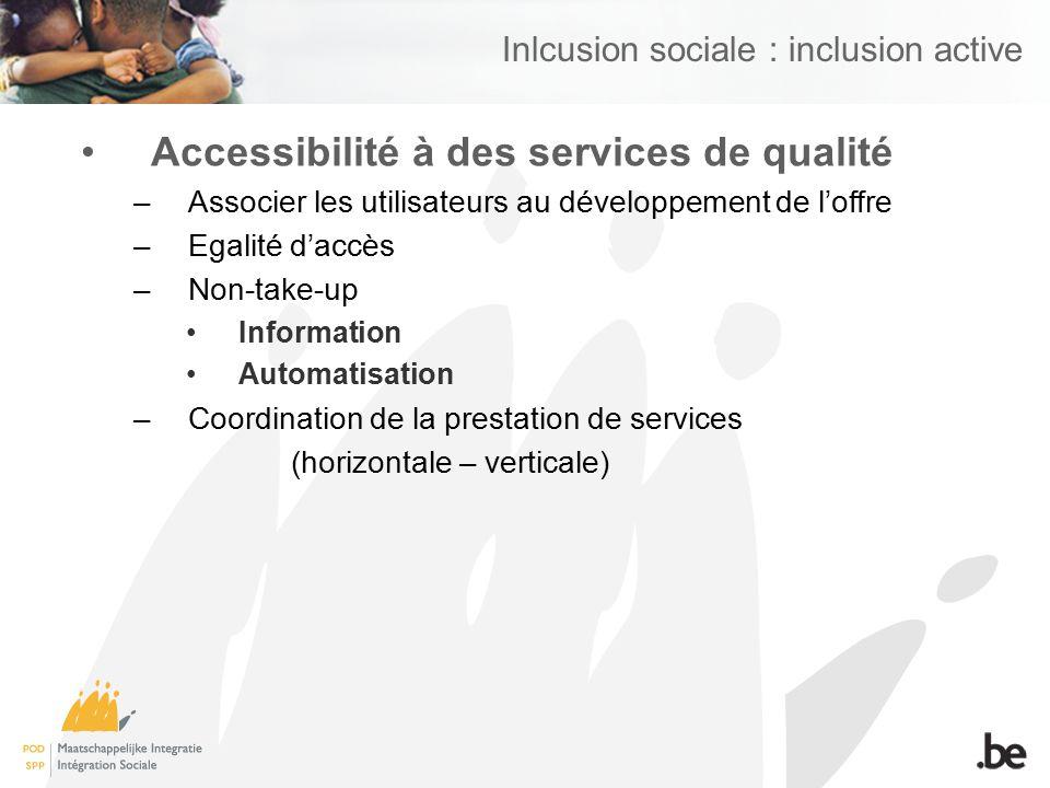 Inlcusion sociale : inclusion active Accessibilité à des services de qualité –Associer les utilisateurs au développement de loffre –Egalité daccès –No