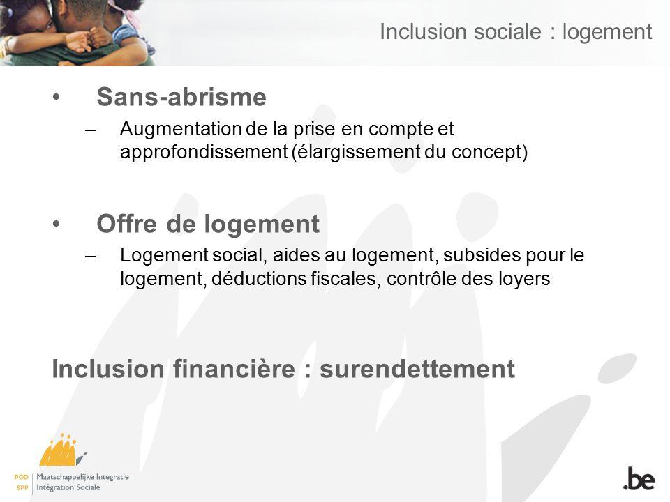 Inclusion sociale : logement Sans-abrisme –Augmentation de la prise en compte et approfondissement (élargissement du concept) Offre de logement –Logem