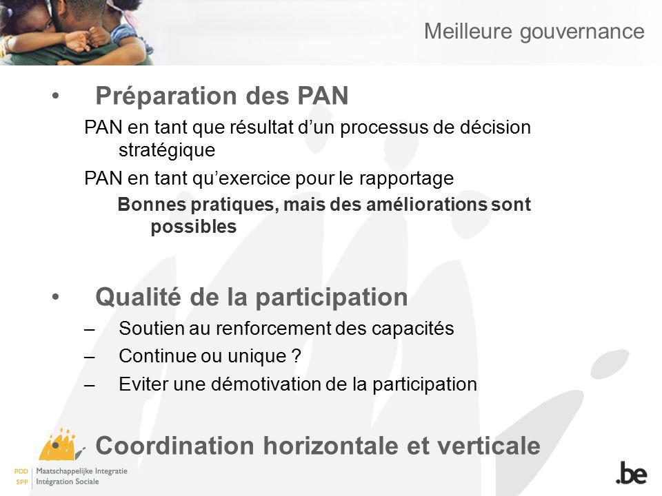 Meilleure gouvernance Préparation des PAN PAN en tant que résultat dun processus de décision stratégique PAN en tant quexercice pour le rapportage Bon