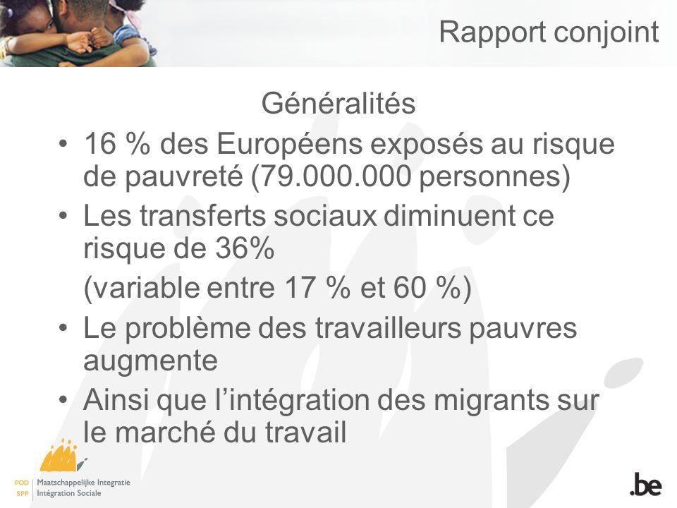 Rapport conjoint Généralités 16 % des Européens exposés au risque de pauvreté (79.000.000 personnes) Les transferts sociaux diminuent ce risque de 36%