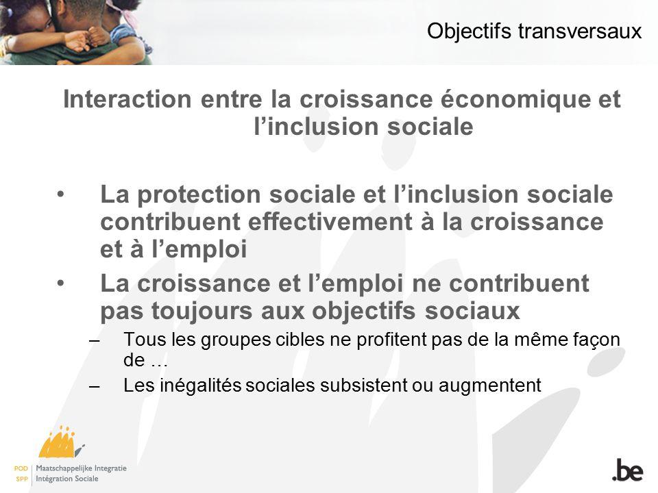 Objectifs transversaux Interaction entre la croissance économique et linclusion sociale La protection sociale et linclusion sociale contribuent effect