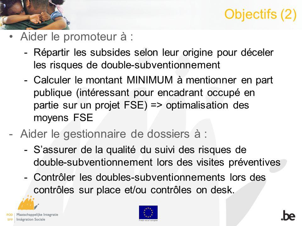 Objectifs (2) Aider le promoteur à : -Répartir les subsides selon leur origine pour déceler les risques de double-subventionnement -Calculer le montant MINIMUM à mentionner en part publique (intéressant pour encadrant occupé en partie sur un projet FSE) => optimalisation des moyens FSE -Aider le gestionnaire de dossiers à : -Sassurer de la qualité du suivi des risques de double-subventionnement lors des visites préventives -Contrôler les doubles-subventionnements lors des contrôles sur place et/ou contrôles on desk.