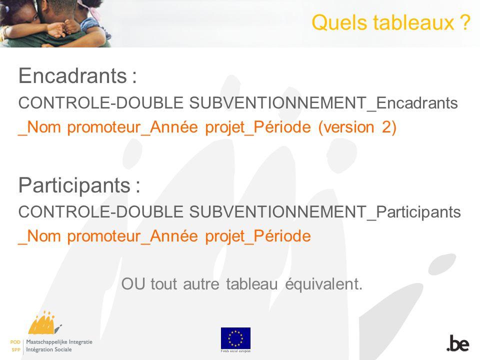 Quels tableaux ? Encadrants : CONTROLE-DOUBLE SUBVENTIONNEMENT_Encadrants _Nom promoteur_Année projet_Période (version 2) Participants : CONTROLE-DOUB