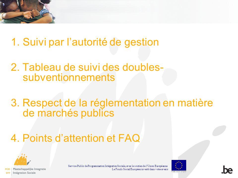 1.Suivi par lautorité de gestion 2. Tableau de suivi des doubles- subventionnements 3. Respect de la réglementation en matière de marchés publics 4. P