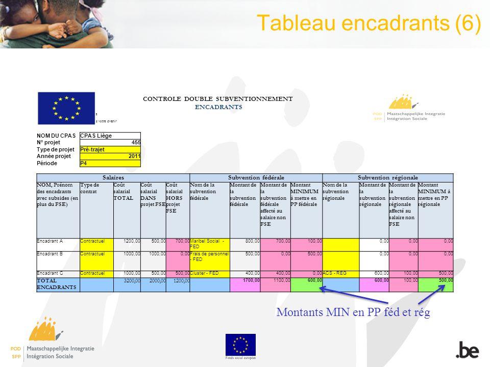 Tableau encadrants (6) CONTROLE DOUBLE SUBVENTIONNEMENT ENCADRANTS Avec le soutien de lUnion Européenne Le Fonds Social Européen investit dans votre a
