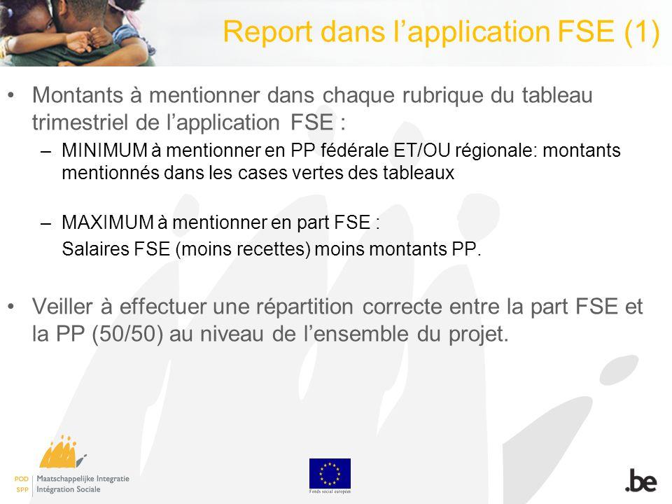 Report dans lapplication FSE (1) Montants à mentionner dans chaque rubrique du tableau trimestriel de lapplication FSE : –MINIMUM à mentionner en PP f