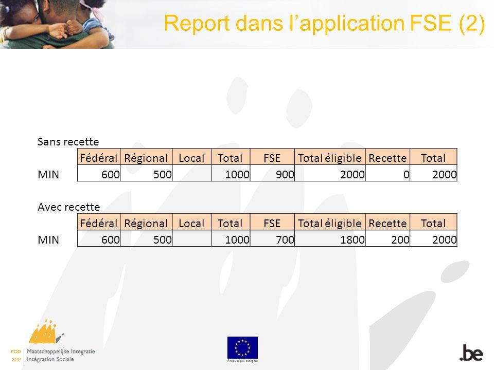 Report dans lapplication FSE (2) Sans recette FédéralRégionalLocalTotalFSETotal éligibleRecetteTotal MIN600500 100090020000 Avec recette FédéralRégionalLocalTotalFSETotal éligibleRecetteTotal MIN600500 100070018002002000